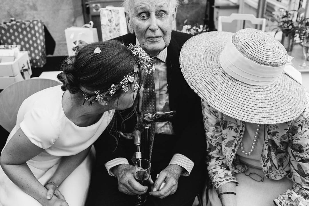 bride and her grandparents