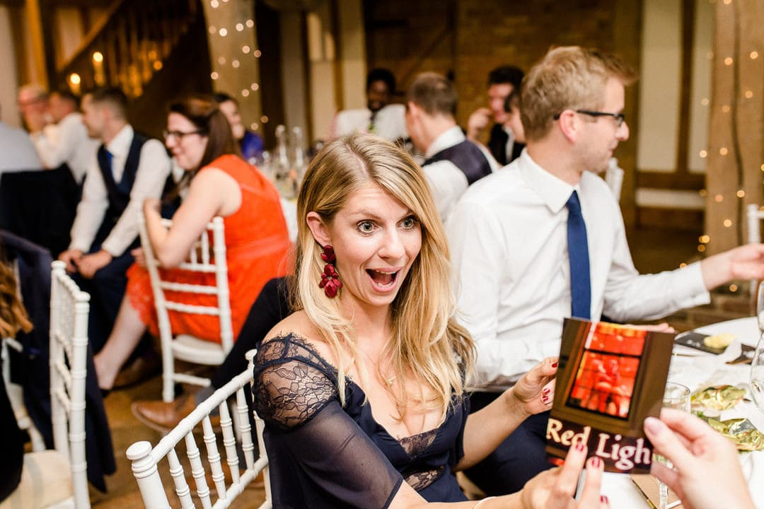 wedding guest laughing at photos during speeches