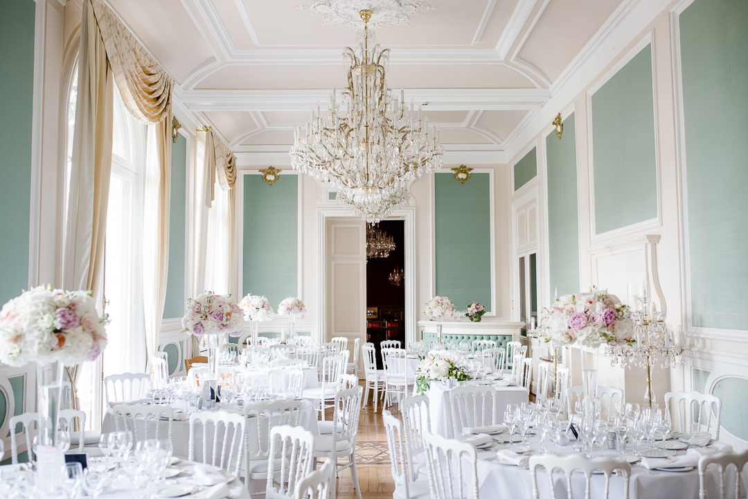inside the salon at chateau bouffemont paris france, set for a wedding image