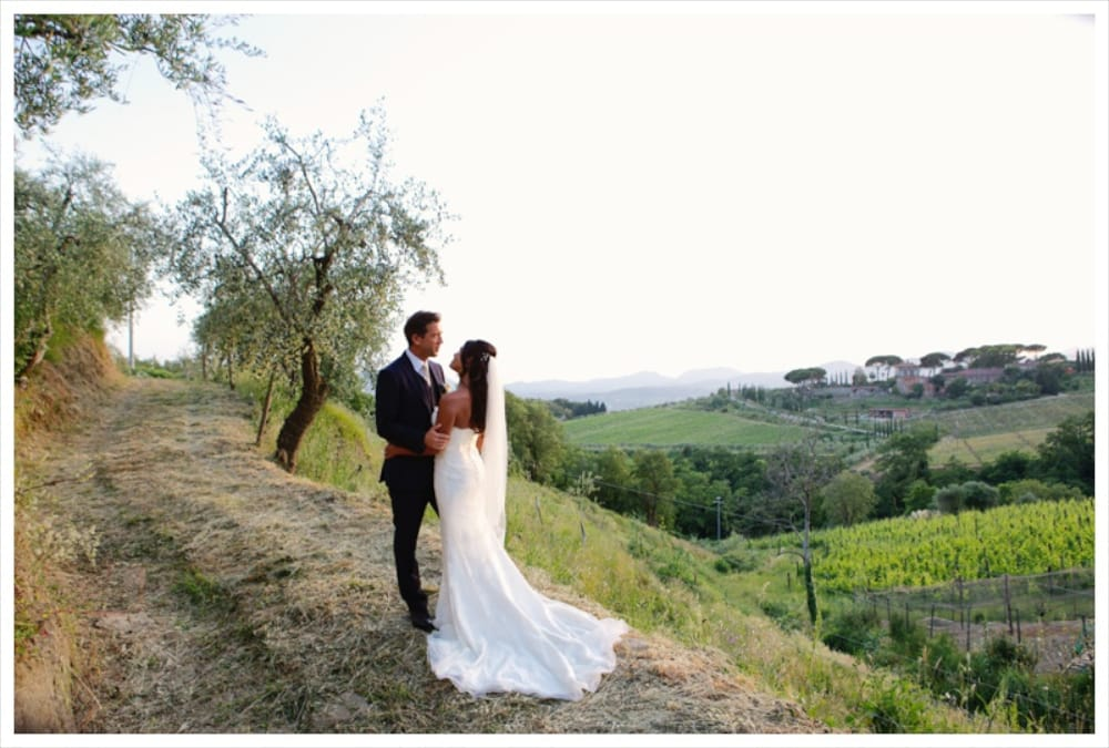 Tuscany wedding photo of bride and groom in countryside