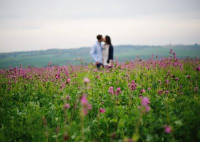 fiances kissing in meadow for engagement