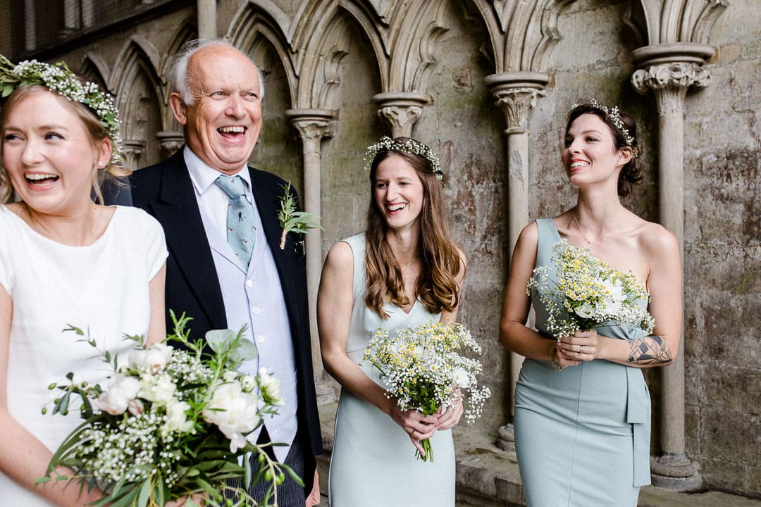 Salisbury Cathedral wedding, bridesmaids, father of the bride,