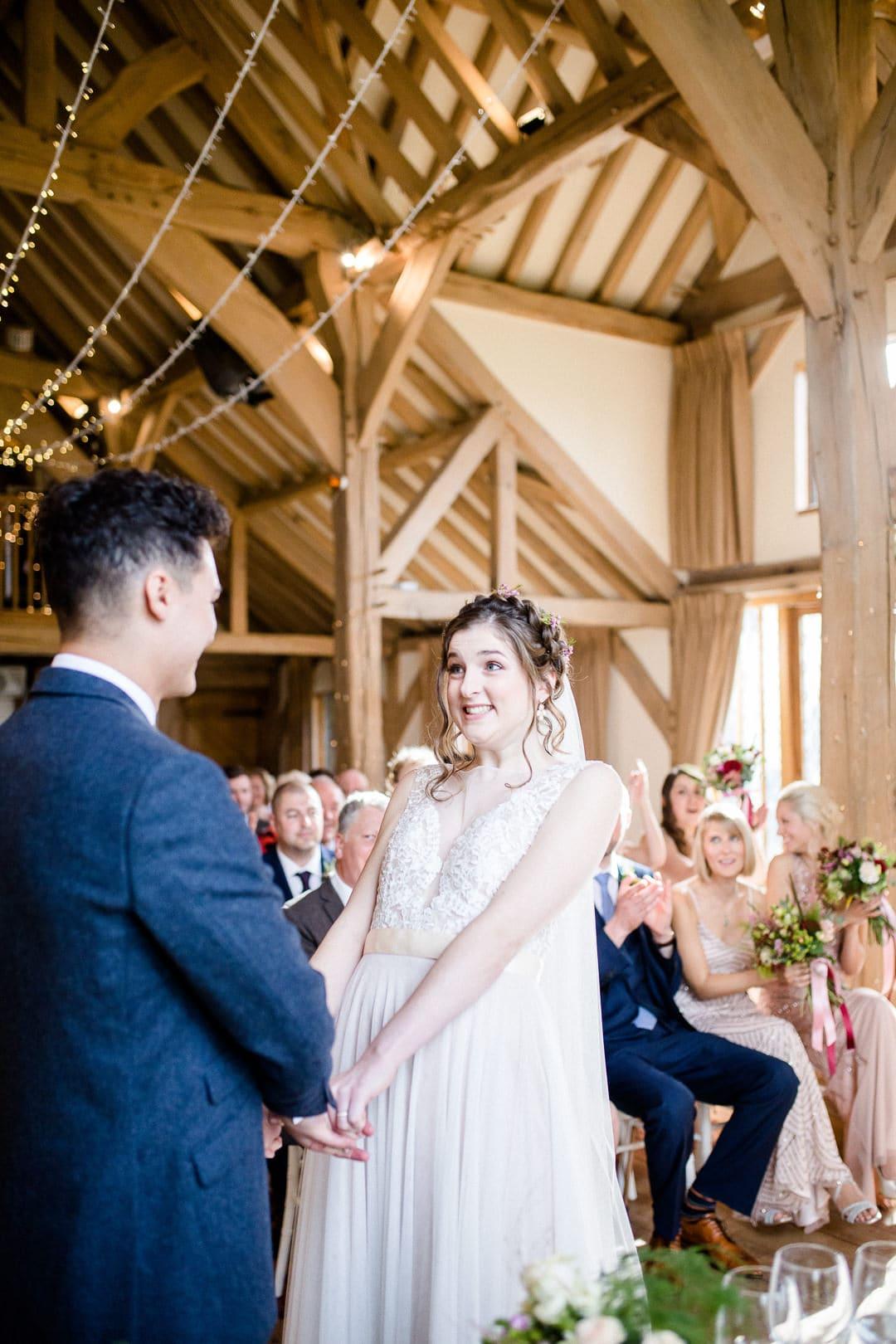 Happy bride wedding ceremony