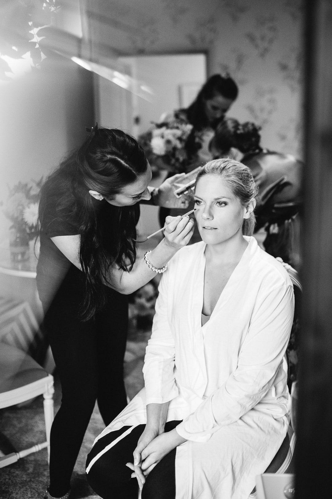 Bridal prep at Clock Barn venue Hampshire, bridal make up