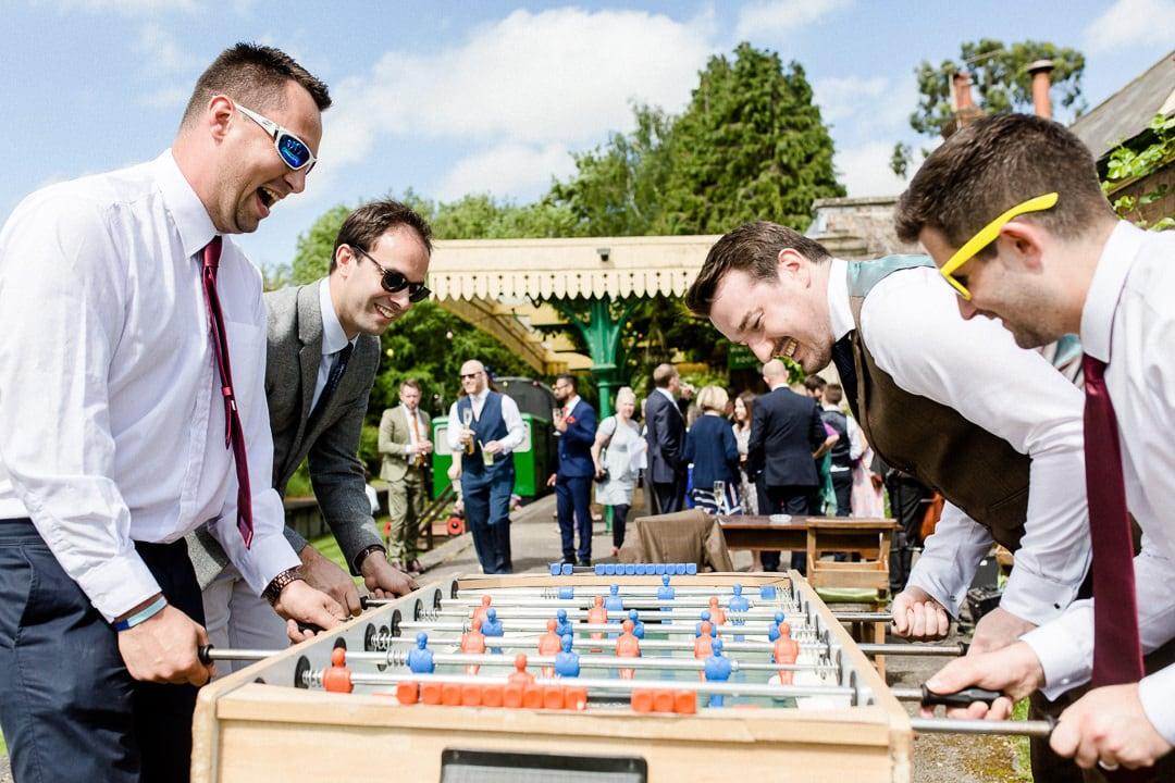 table football at horsebridge station wedding venue