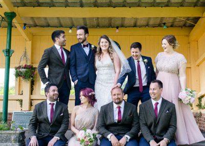wedding party on station platform at horsebridge station