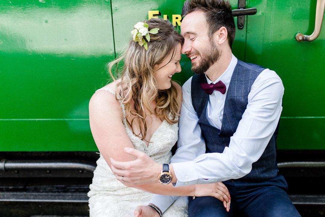 bride and groom at horsebridge station