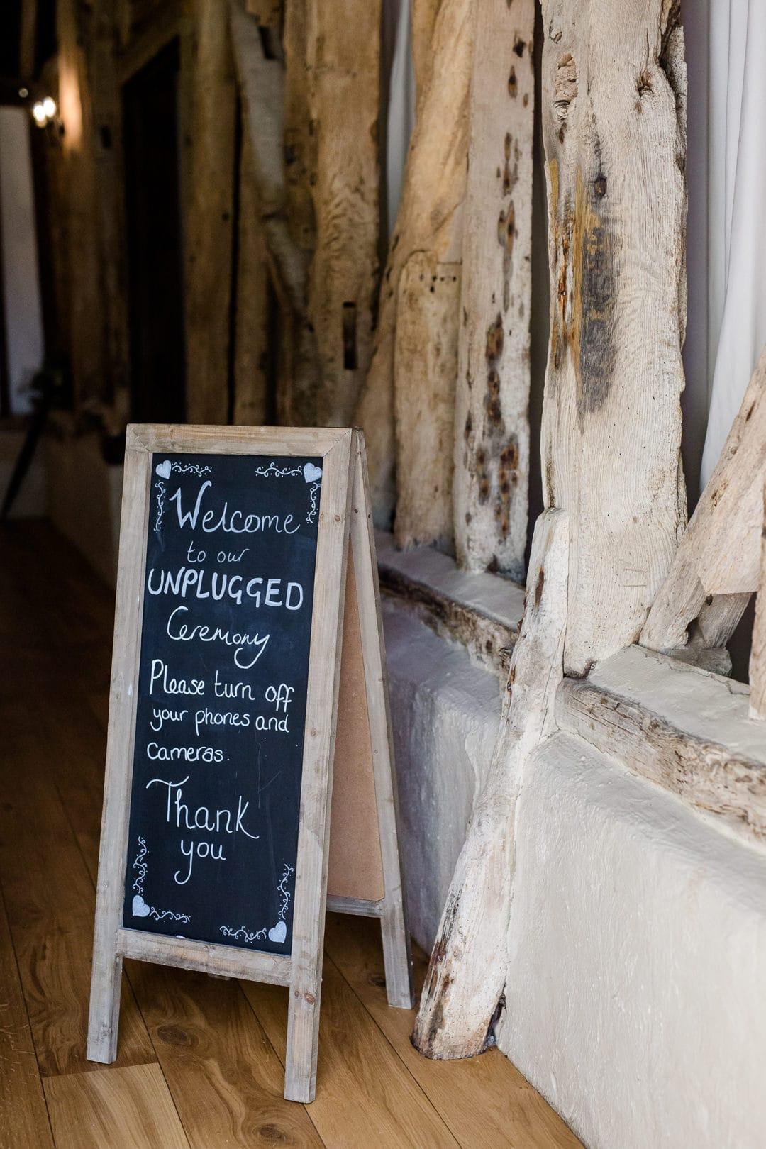 unplugged wedding ceremony blackboard sign