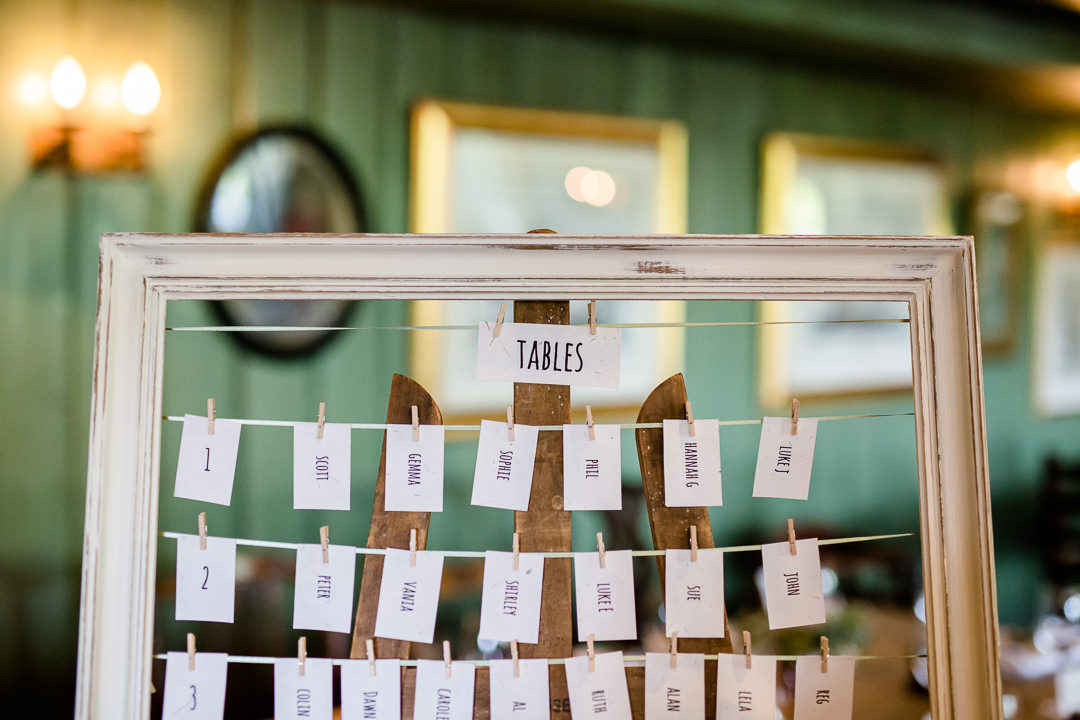 wedding table plan with string