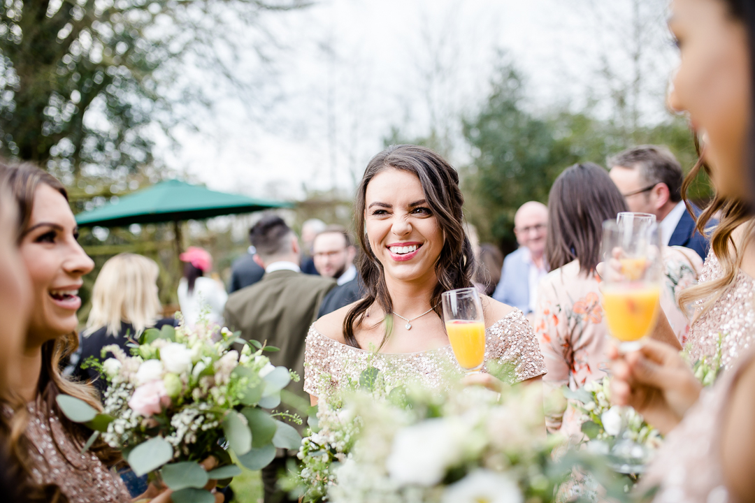wedding guests at drinks reception