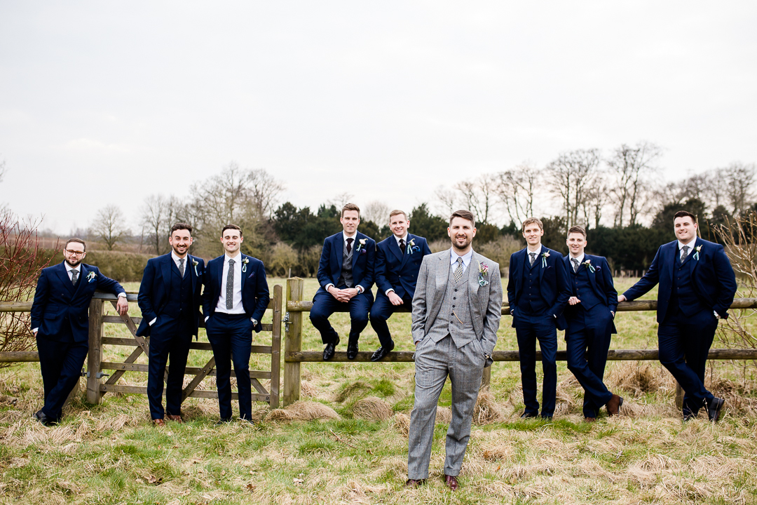 groom and groomsmen at Clock Barn Hampshire