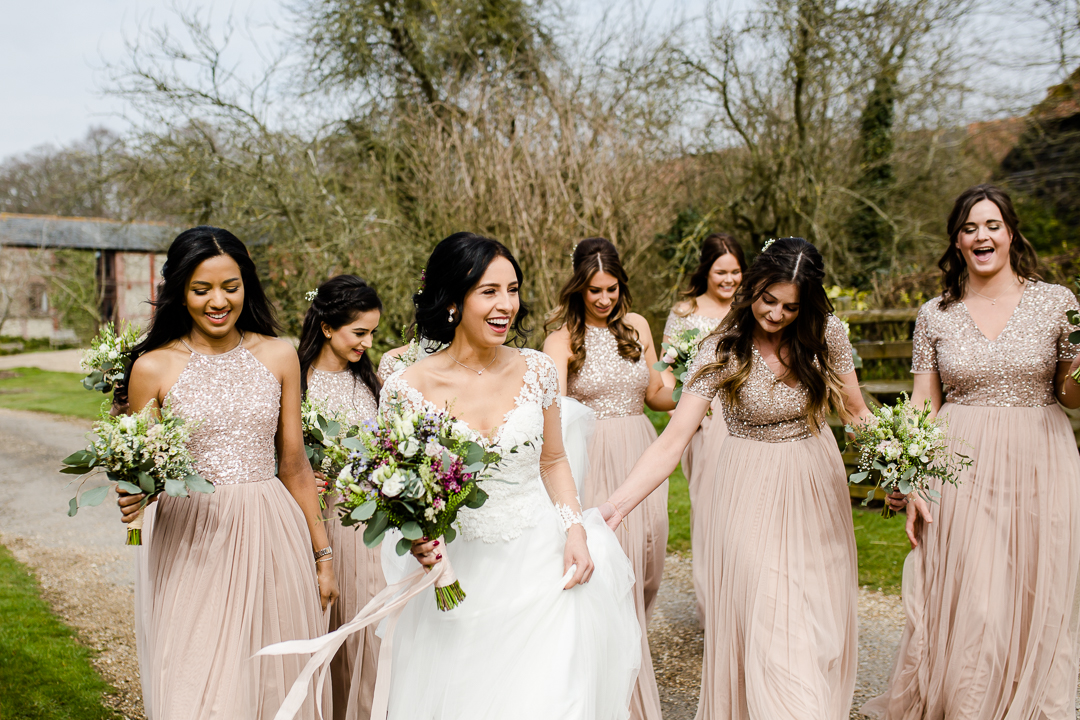 Bride and bridesmaids in pink sequins