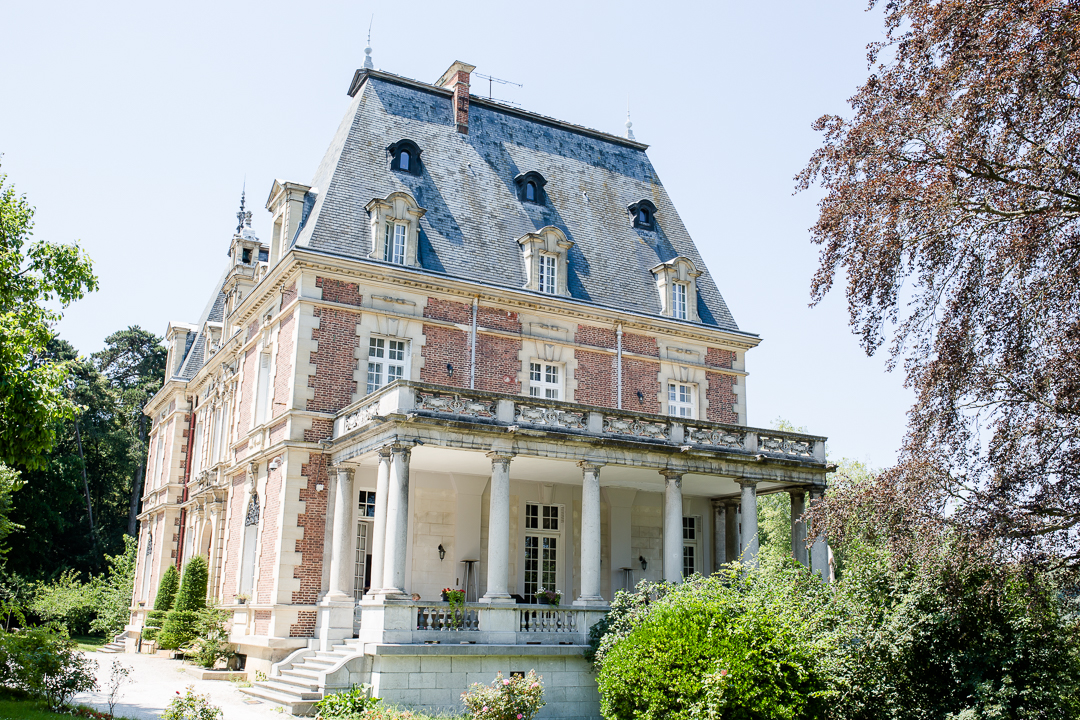 exterior of chateau bouffemont paris france in the summer image