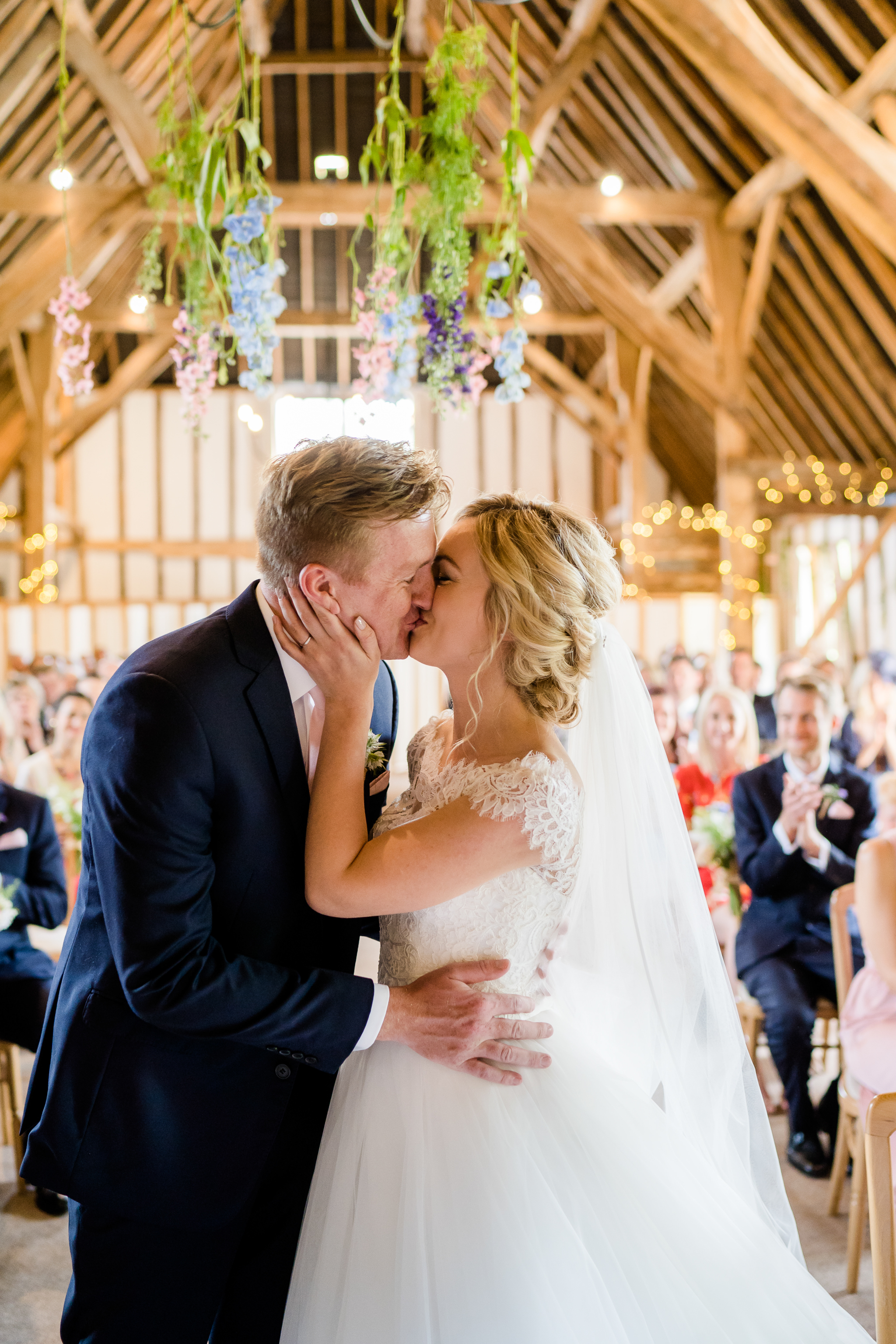 wedding ceremony at Clock Barn wedding venue in Hampshire