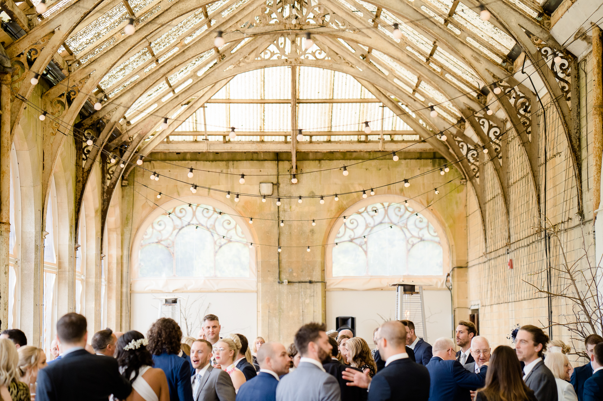 drinks reception in the orangery at Grittleton House, wedding venue in Wiltshire