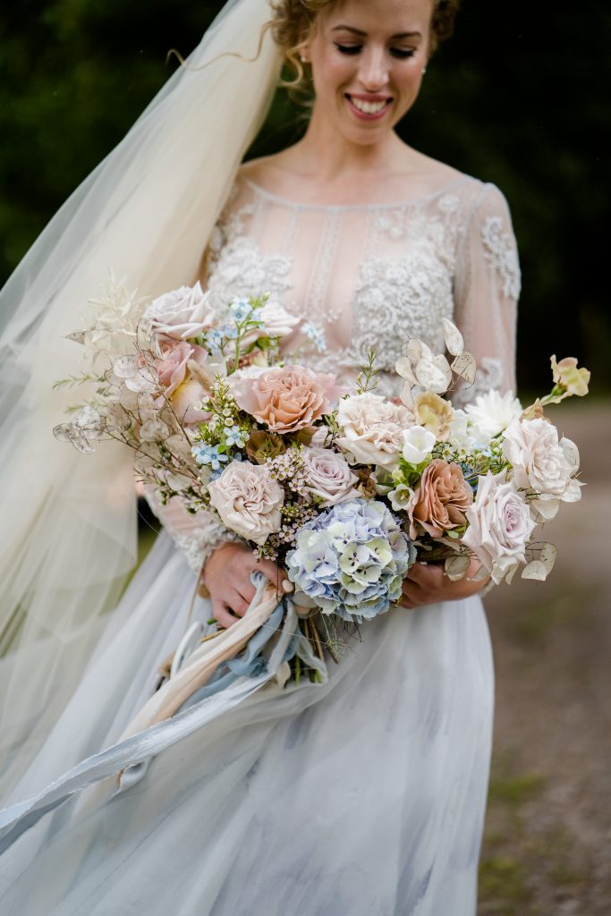 wild undone rustic wedding bouquet in pastel colours by Jenni Bloom Flowers
