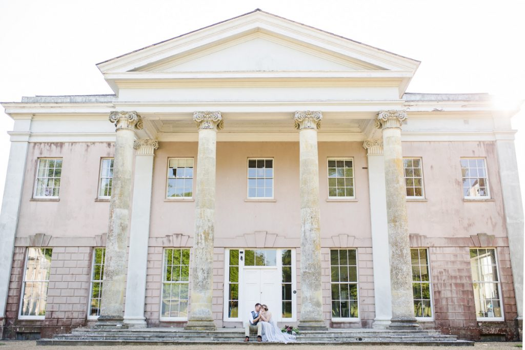 Hale Park pink stately home wedding venue New Forest photo by Lydia Stamps