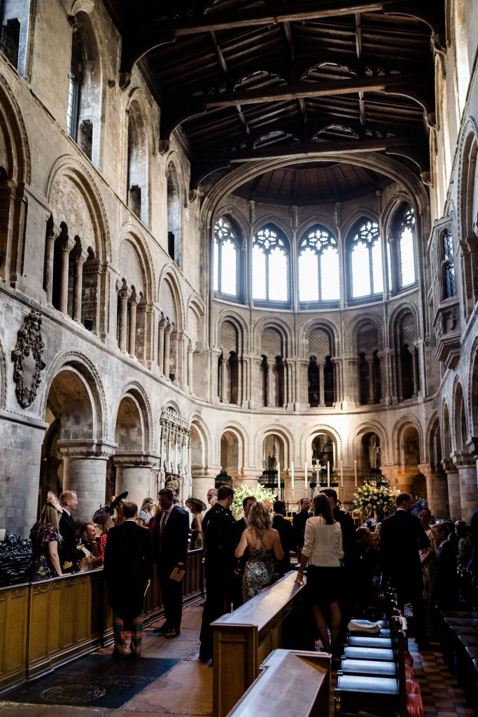 Interior of St. Bart's Church Smithfields London wedding as featured in the film Four Weddings and a Funeral photo by Lydia Stamps Photography