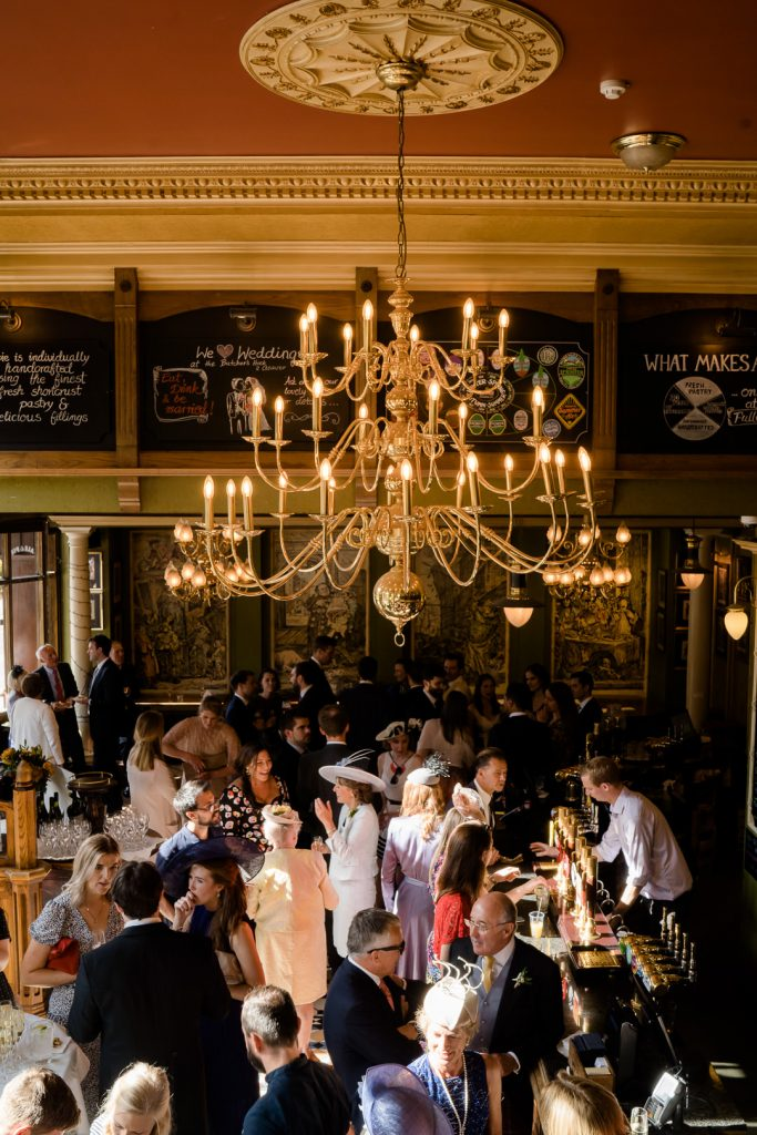 Interior of the Butchers Hook & Cleaver pub during a London pub wedding photo by Lydia Stamps Photography