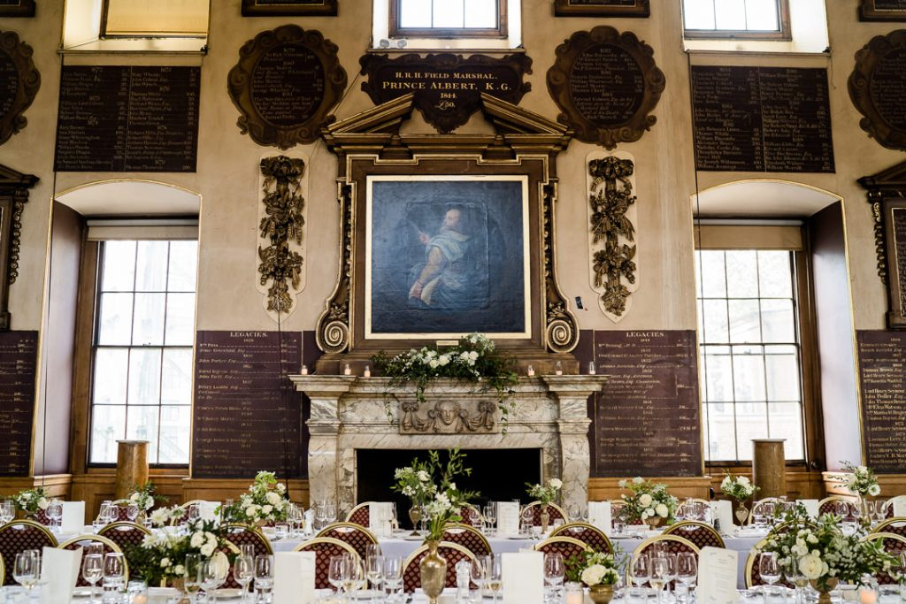 Interior of the Great Hall at St. Bartholomew's Hospital London, set for a wedding photo by Lydia Stamps Photography