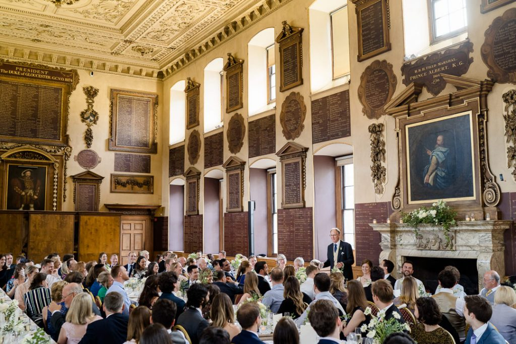 Interior of the Great Hall at St. Bartholomew's Hospital London during a wedding breakfast photo by Lydia Stamps Photography