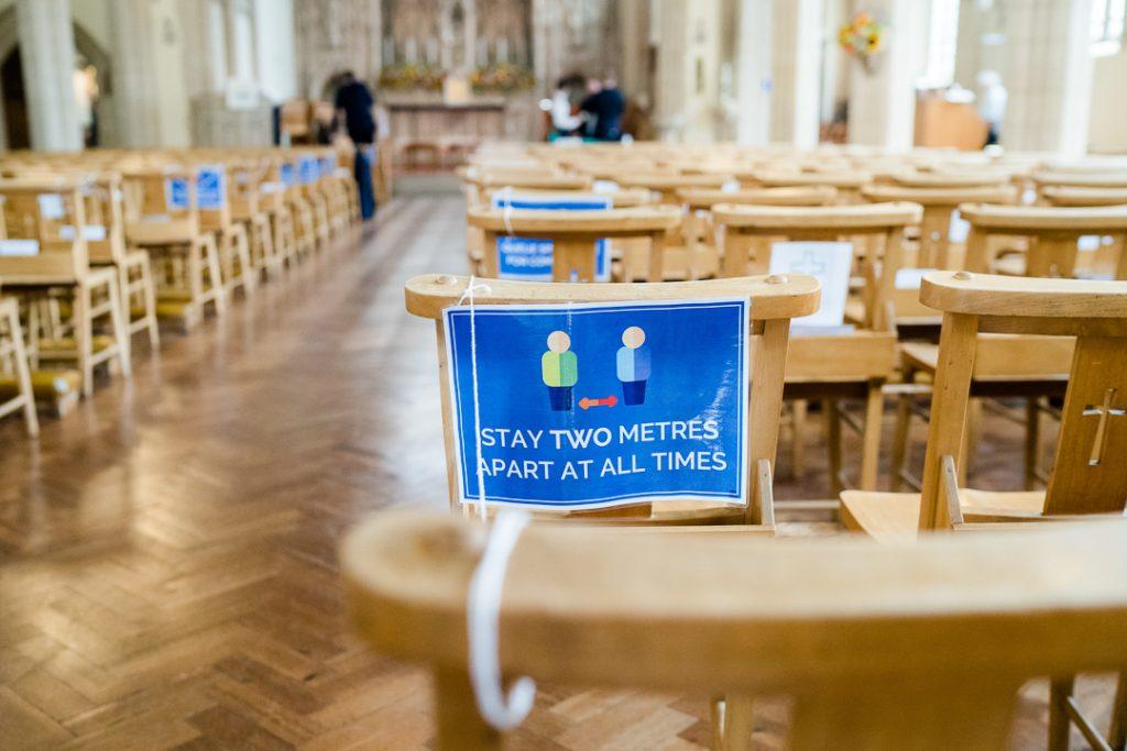 covid safe signage in a church in 2020