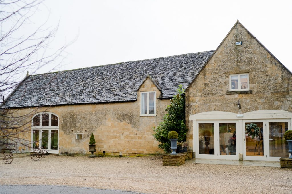 Exterior of Lapstone Barn wedding venue Cotswolds photographed by Lydia Stamps Photography
