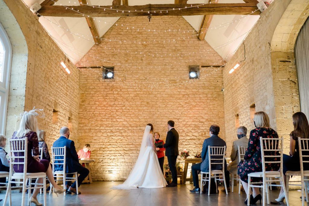 winter wedding ceremony at Lapstone Barn Cotswolds photo by Lydia Stamps Photography