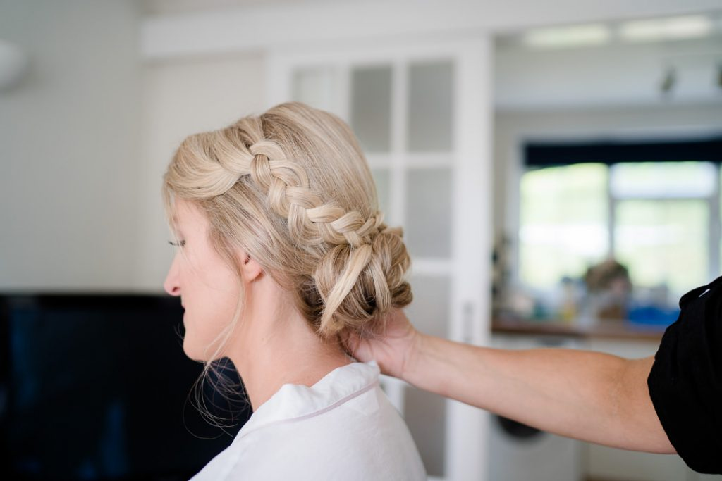 wedding hair up with plait detail by Sloanes of Salisbury photo by Lydia Stamps Photography