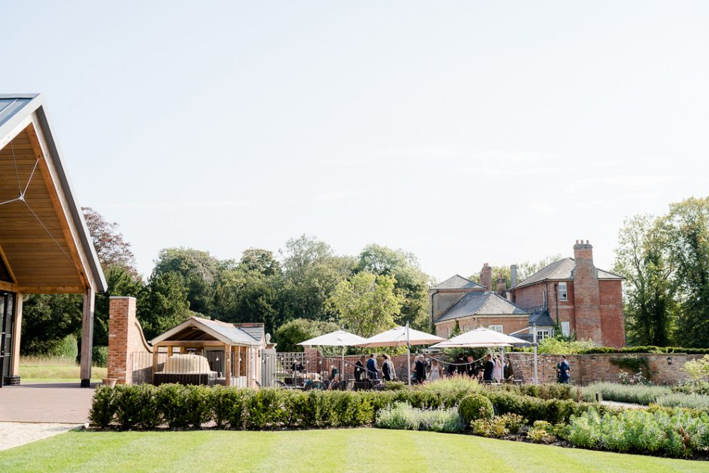 wedding reception in the gardens at Syrencot Photo by Lydia Stamps Photography