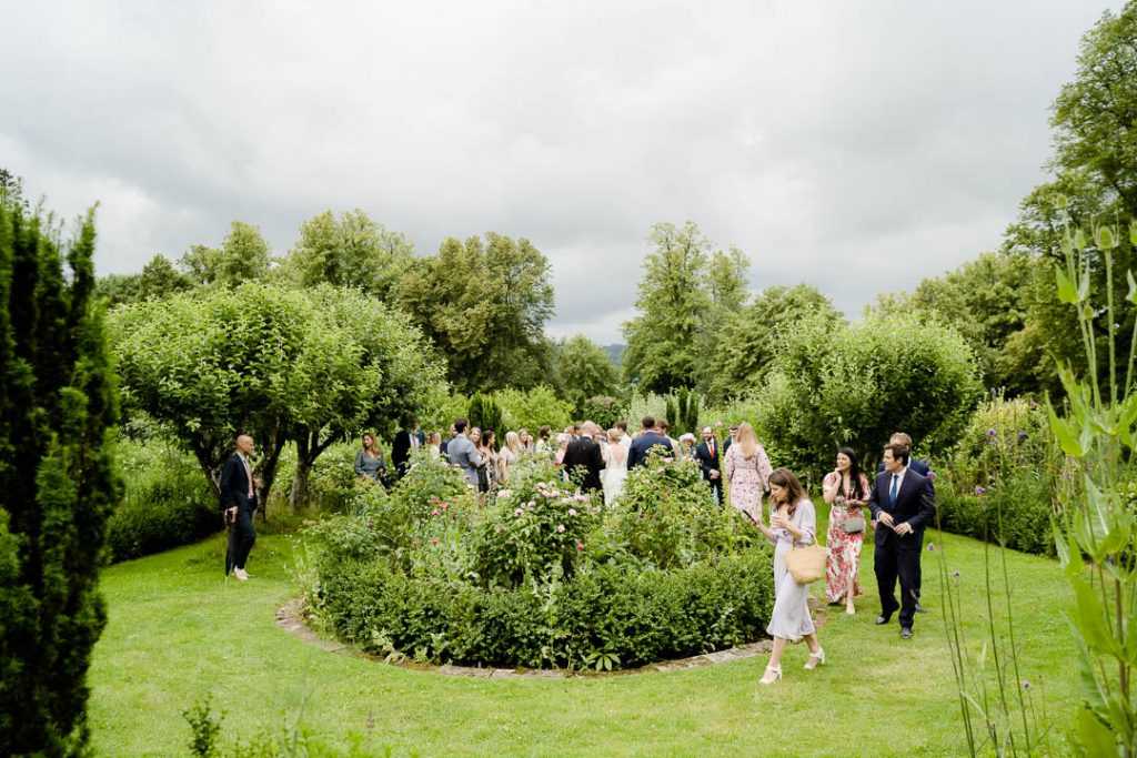 wedding reception in the walled garden at Pythouse Kitchen Garden Wiltshire wedding venue near Salisbury photo by Lydia Stamps Photography